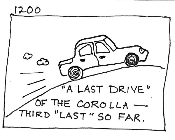 "sharpie illustration of sedan. text: ""a last drive"" of the corolla--third ""last"" so far."