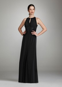 long jersey dress with keyhole detail