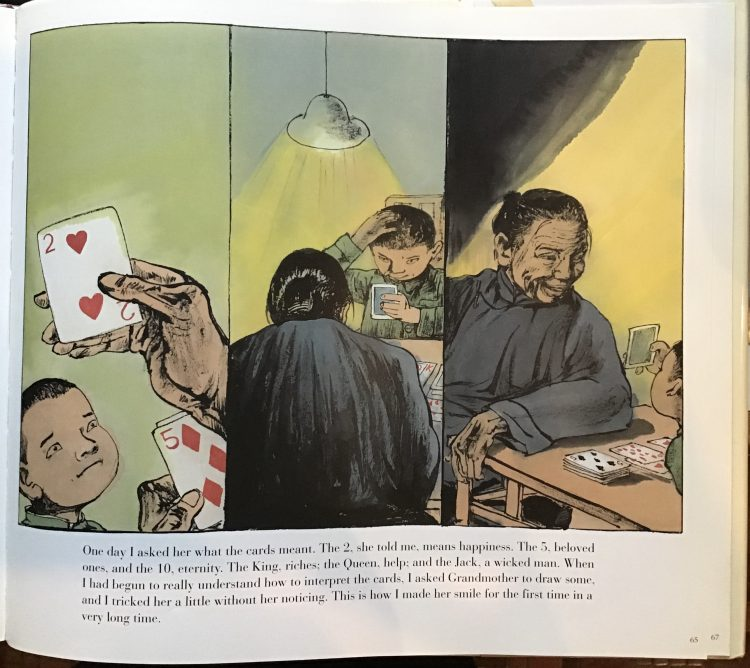 picture book page with three panel illustration of a boy and his grandmother playing cards