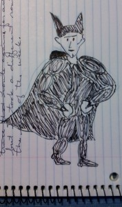 Batman as drawn by Holly in a spiral notebook