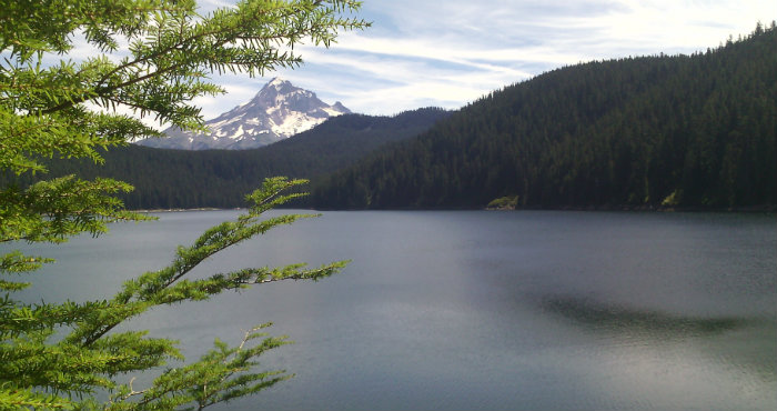 photo of Bull Run Lake with Mt. Hood in background