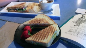 breakfast sandwich and lunch special from Pieper Cafe