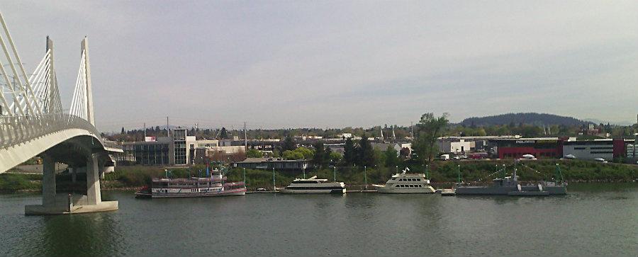 boats at the east end of the Tilikum Bridge