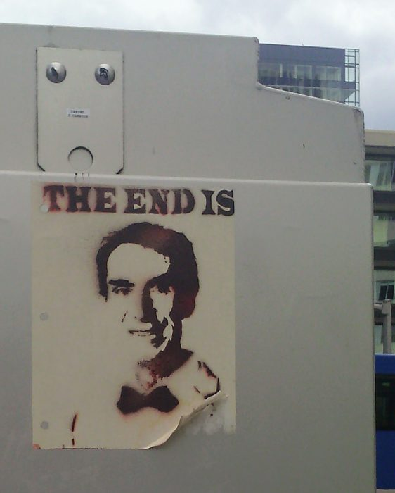 "Stenciled poster ""THE END IS [Bill Nye's face]"