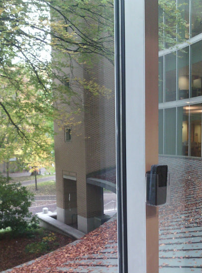 view from PSU Library, with whiteboard eraser mounted to wall