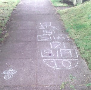 hopscotch numbered from the top with tiny hopscotch beside it