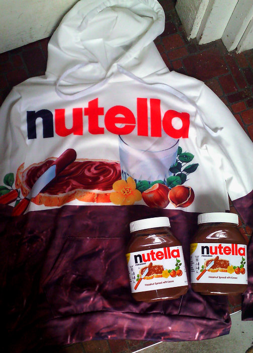 two large jars of nutella and a vivid nutella hoodie