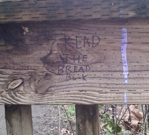 "fence with sharpie graffiti ""READ THE BREAD BOOK"""