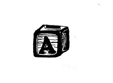 ink drawing of a wooden alphabet block