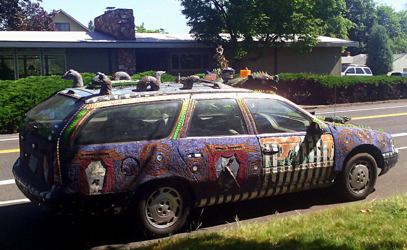 art-car wagon in the sun