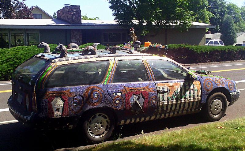 art-car wagon in the sun