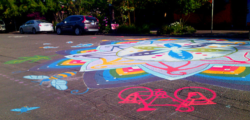 painted mandala with bike and bee at SE 19th and Clinton in Portland OR