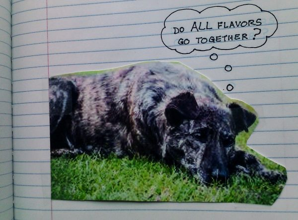 "Picture of a dog on lined paper background; thought balloon says, ""Do ALL flavors go together?"""