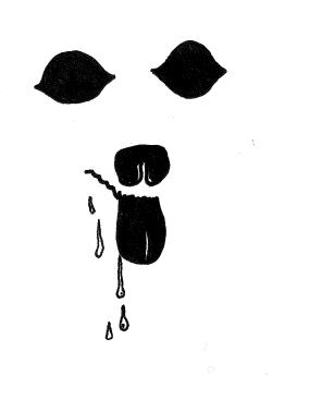 ink drawing of a dog drooling. Shows only the wet parts of a dog.